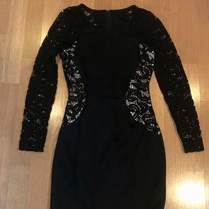 Lace Embellished-Side Bodycon Dress